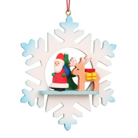Snowflake - Santa and Rudolph - Christmas Tree Decoration