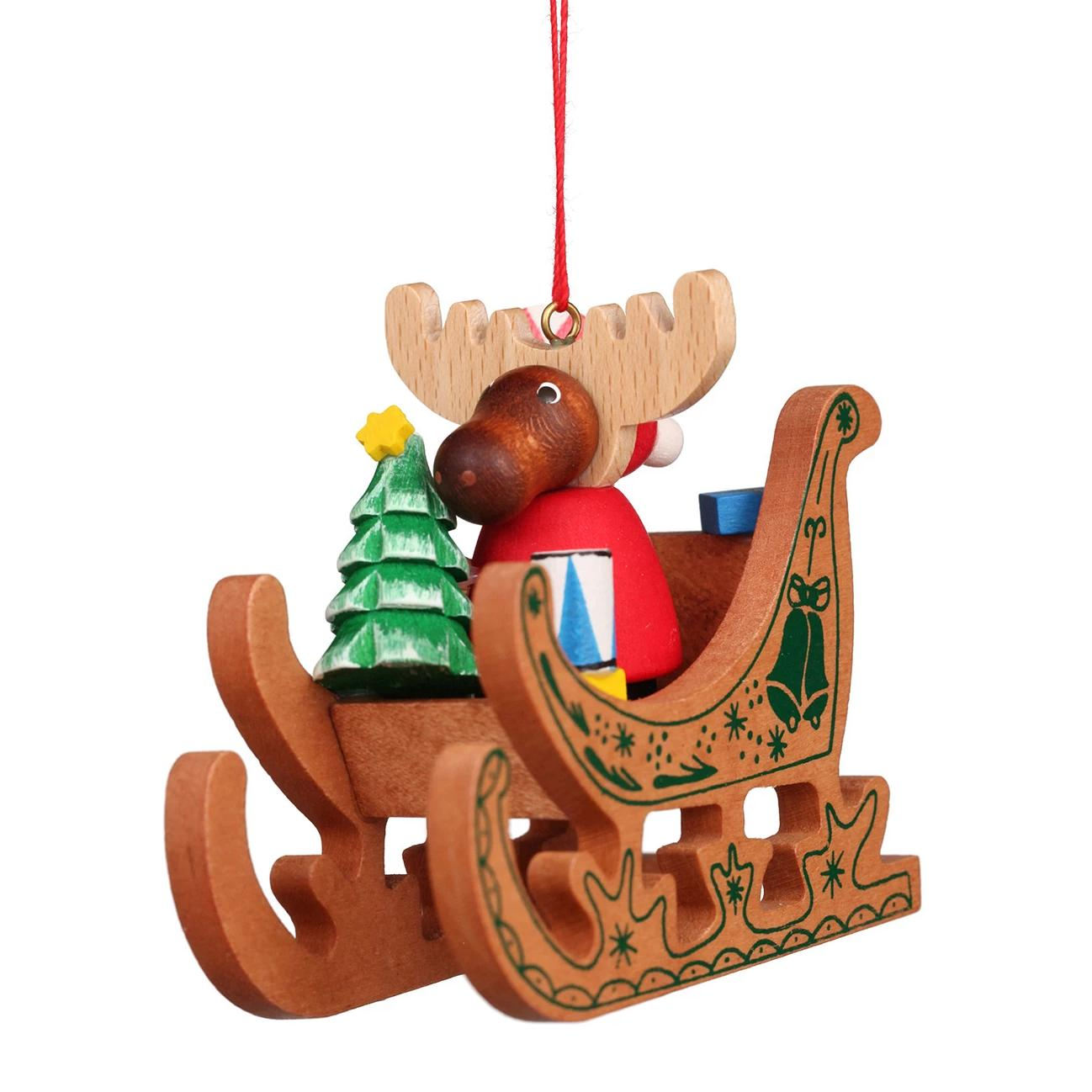 Stencilled Sleigh - Moose - Christmas tree decoration