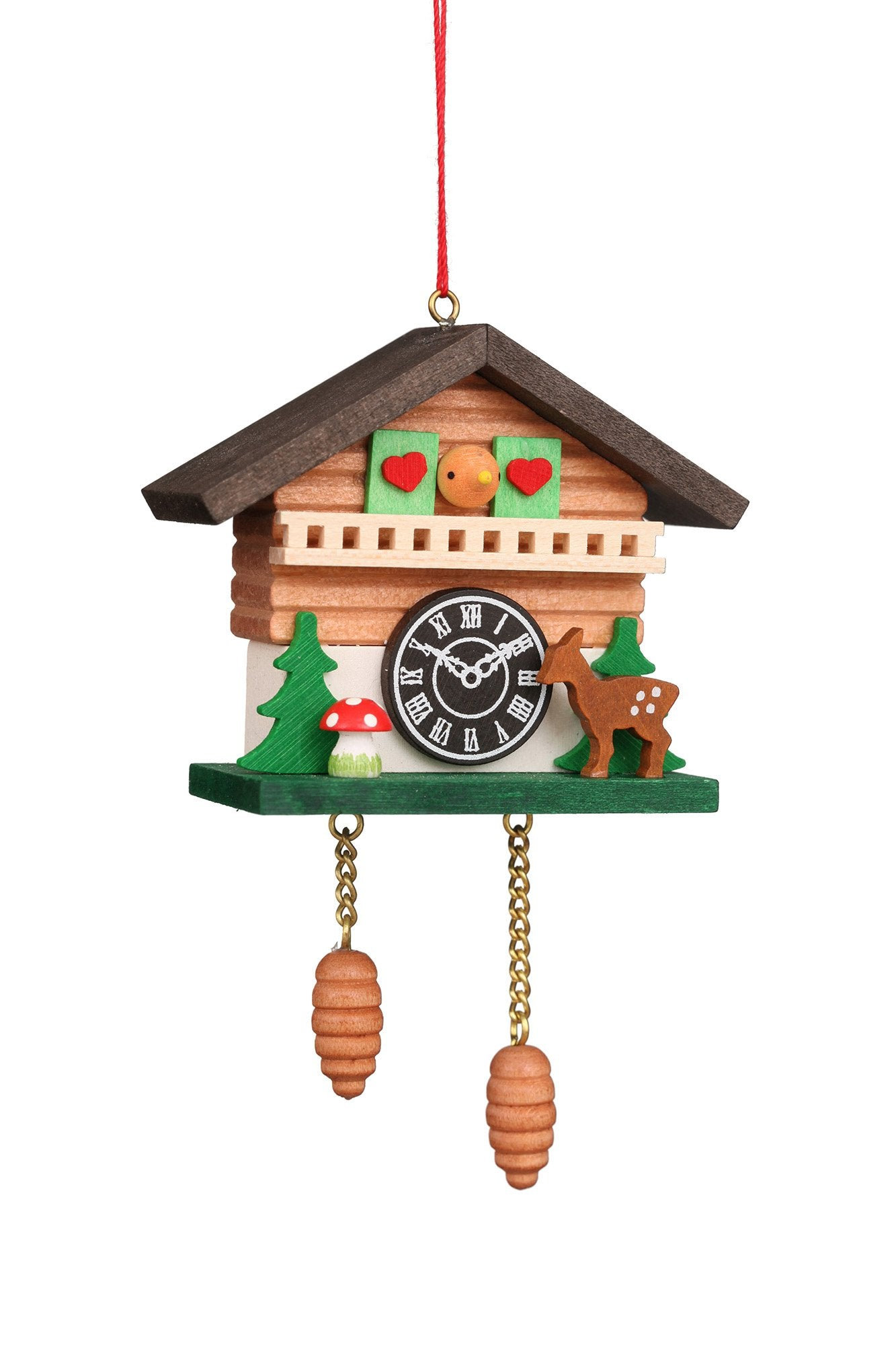 Cuckoo Clock - Forest Cabin with Baby Deer - Christmas tree decoration