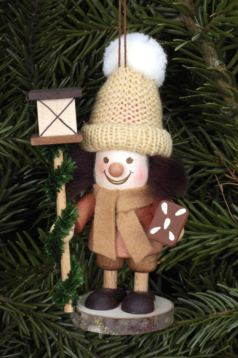 Large gnome Christmas tree decoration - Carol singer