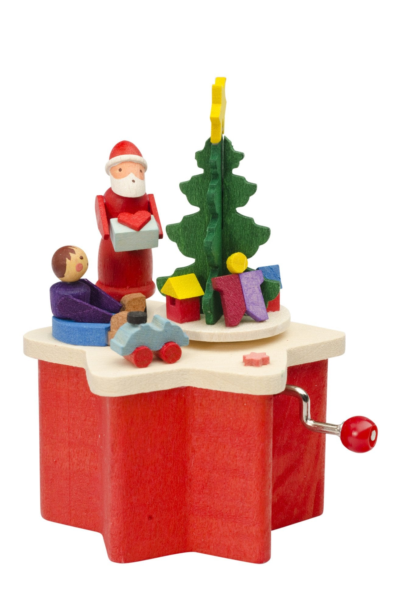Music Box (Traditional Crank-Style) - Miniature Santa and Christmas tree