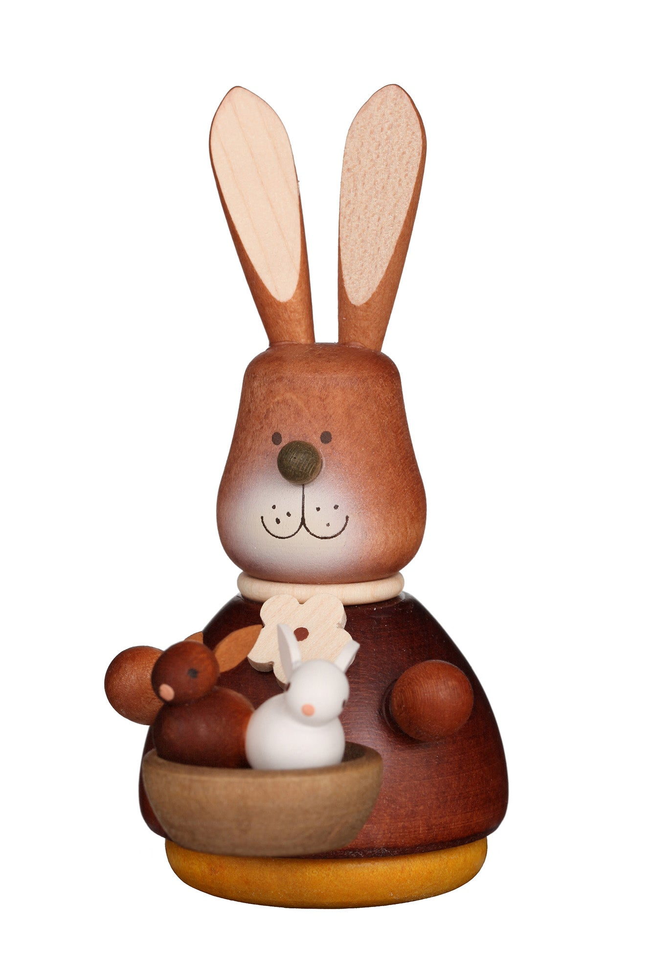 Easter bunny wobble figure - Natural basket of bunnies