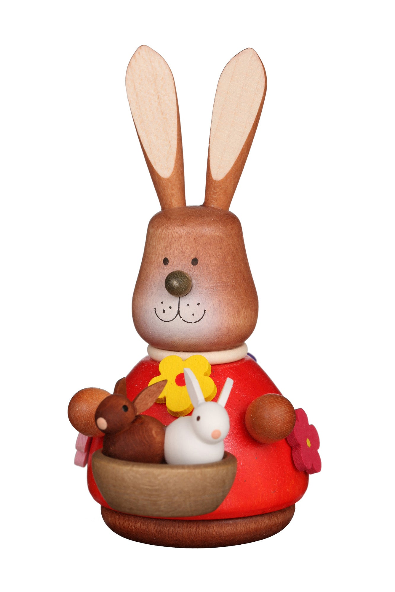 Easter bunny wobble figure with basket of bunnies