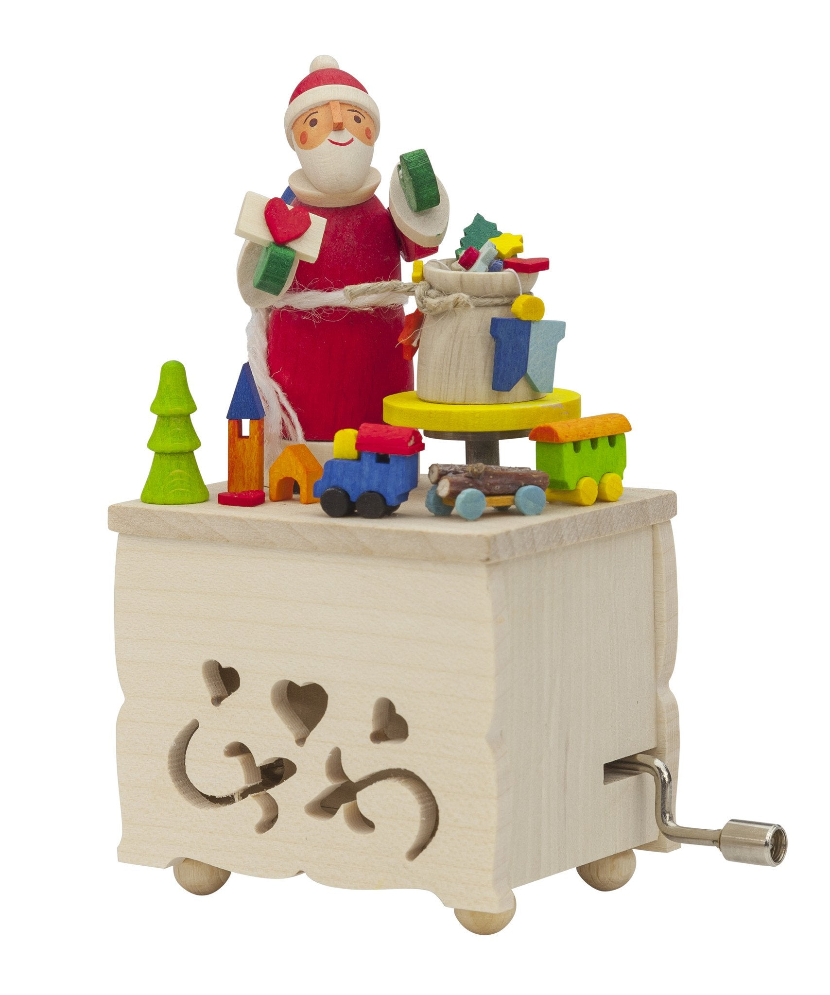 Music Box (Traditional Crank-Style) - Large Santa and Presents