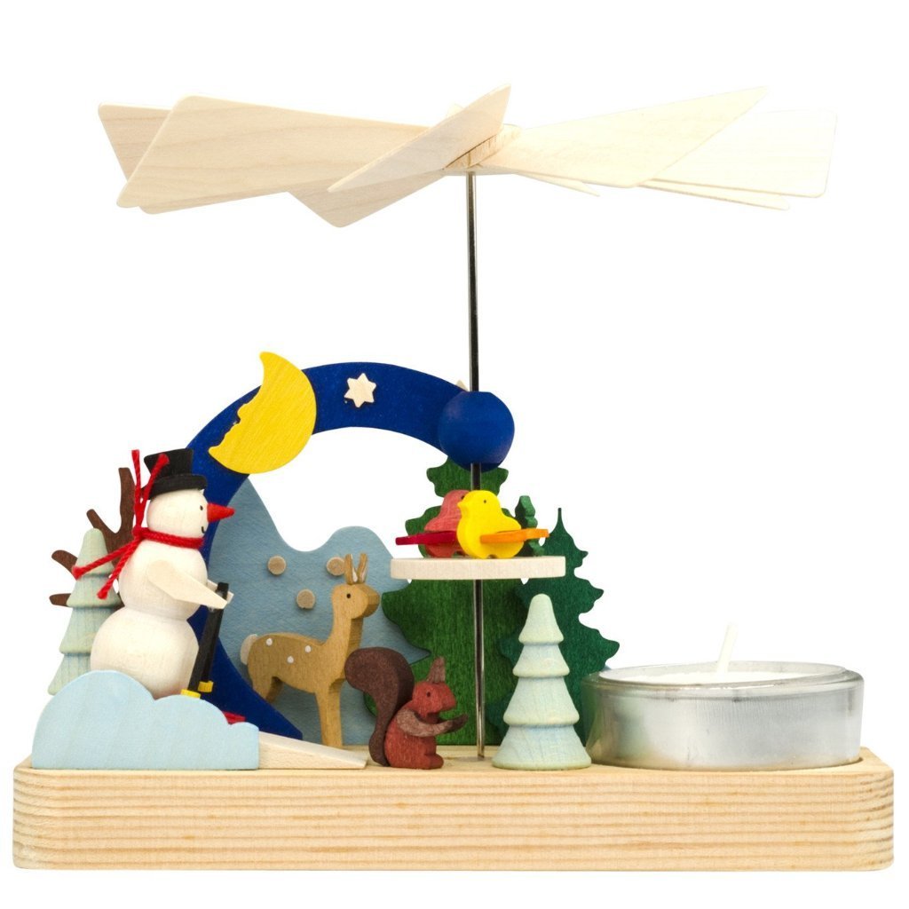 Christmas Pyramid (Small) - Snowman Skiing in Christmas Forest