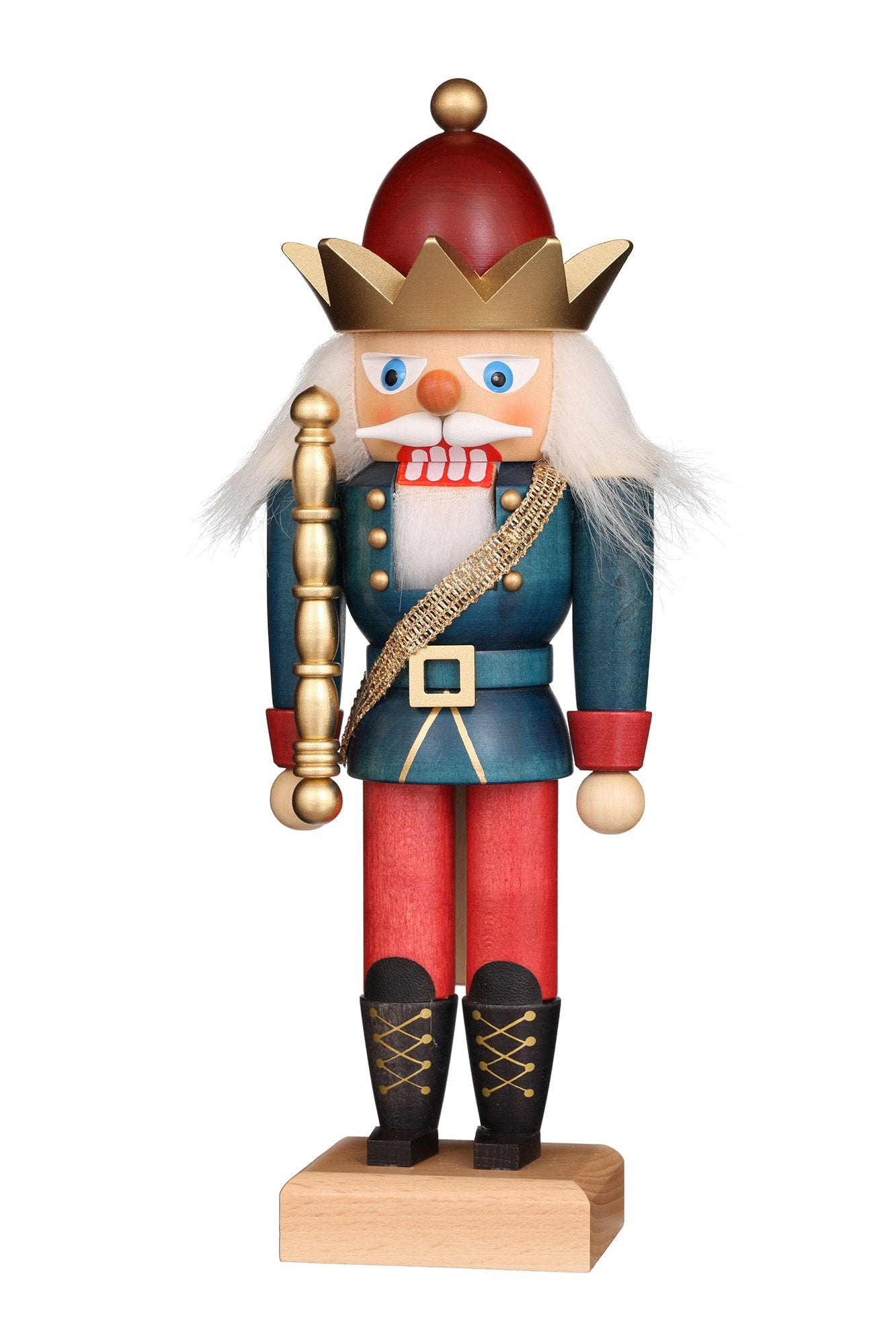 Nutcracker (Small) - Blue and Red King with Golden Crown