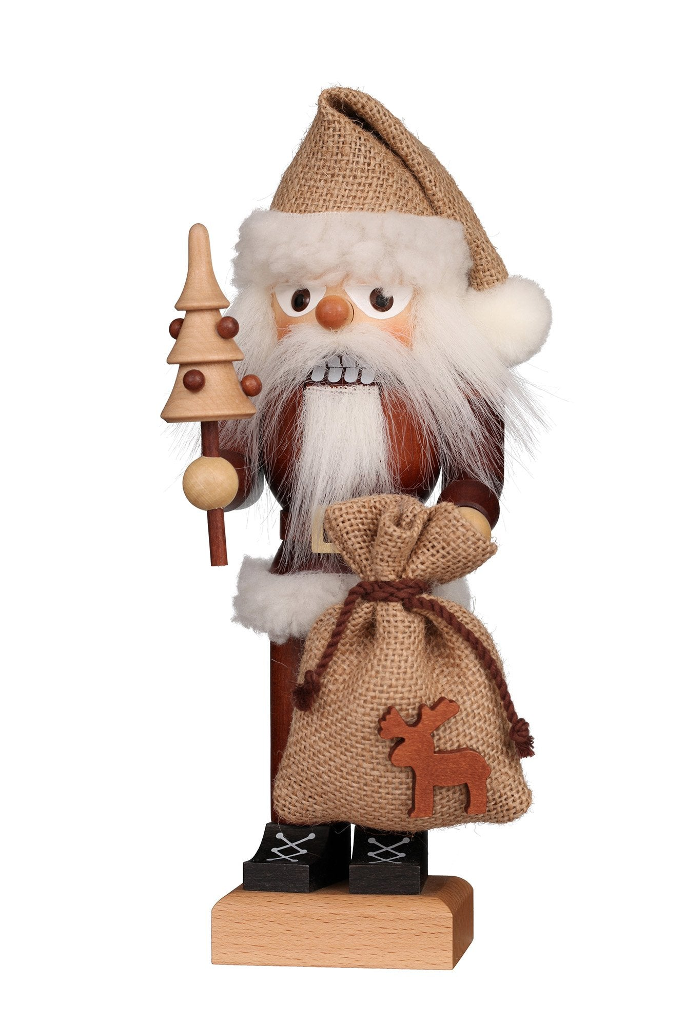 Nutcracker (Small) - Santa with Reindeer Sack
