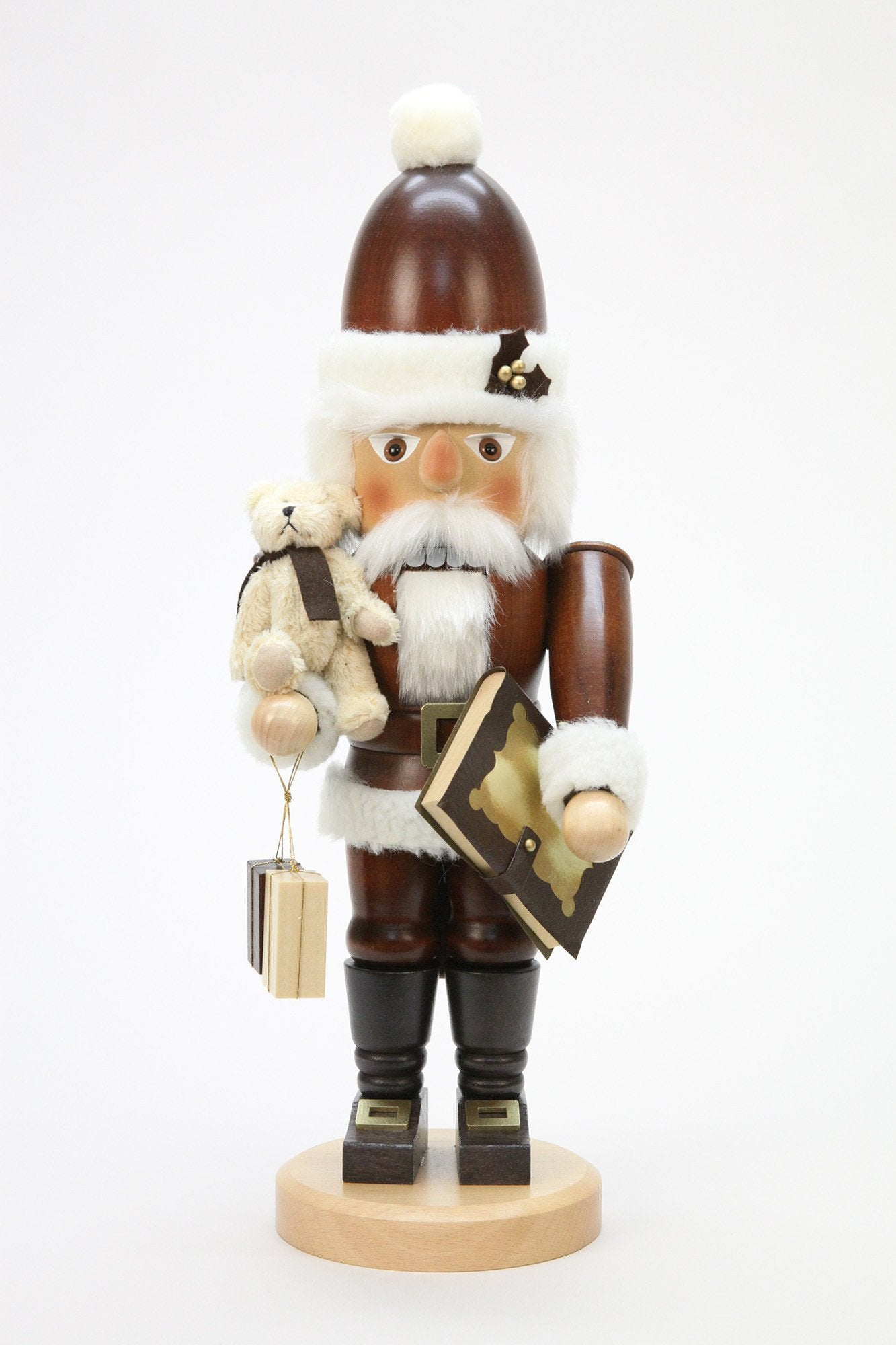 Nutcracker (Classic) - Santa with Teddy and Storybook (Natural)
