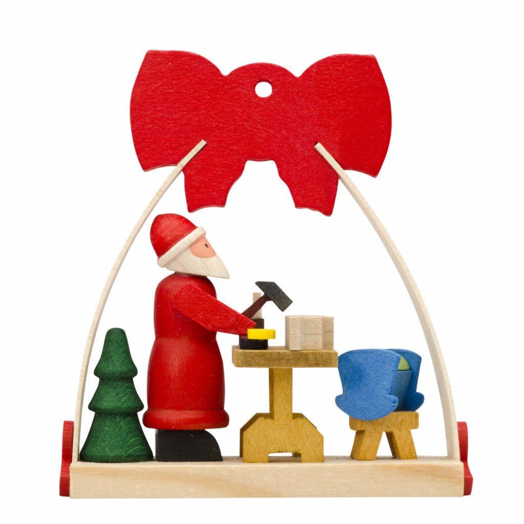 Dressed in a bow Christmas tree decoration - Santa's workshop