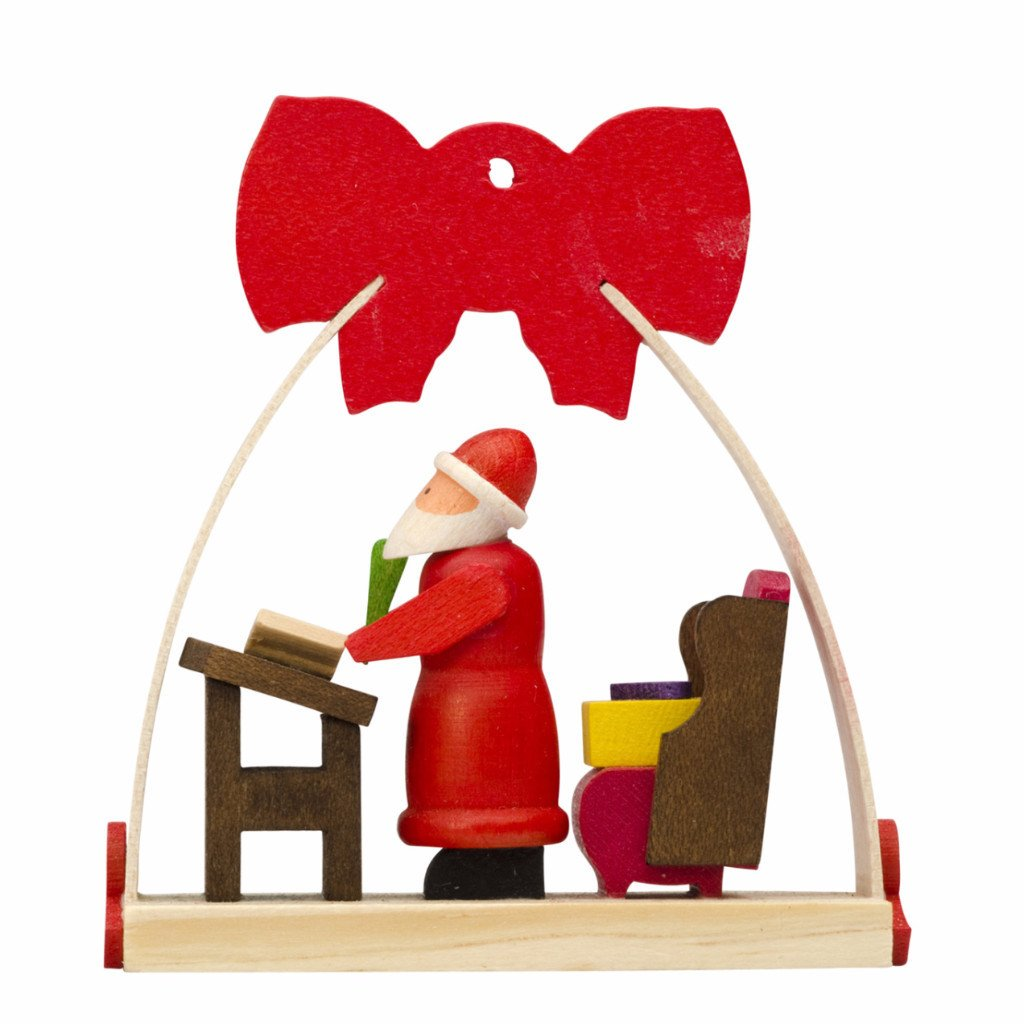Dressed in a Bow - Christmas tree decoration - Santa making his list