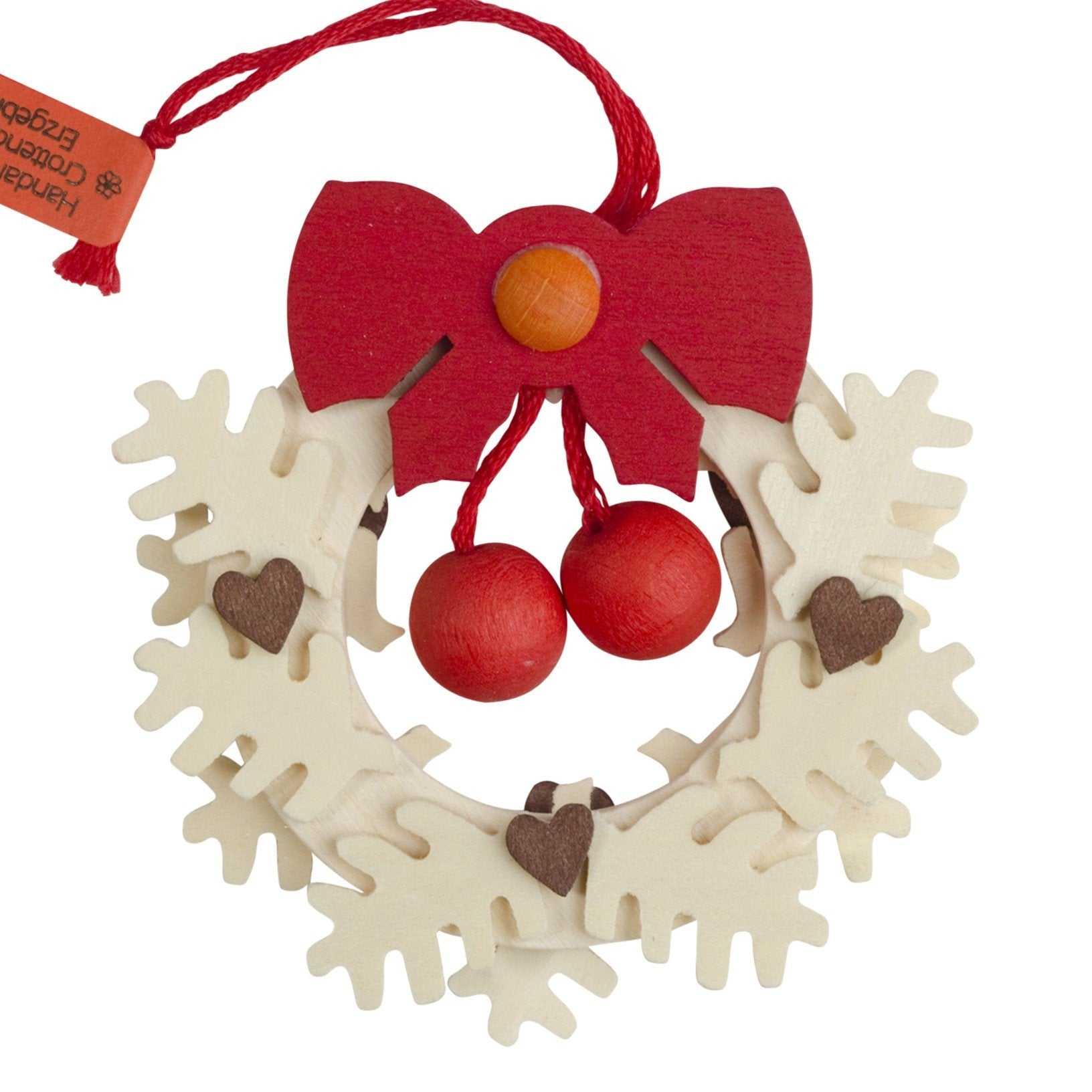 Textured Wreath with Hearts - Christmas tree decoration