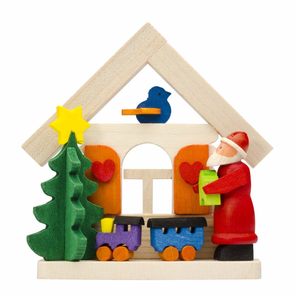 At Home with Santa Playing Trains - Christmas tree decoration