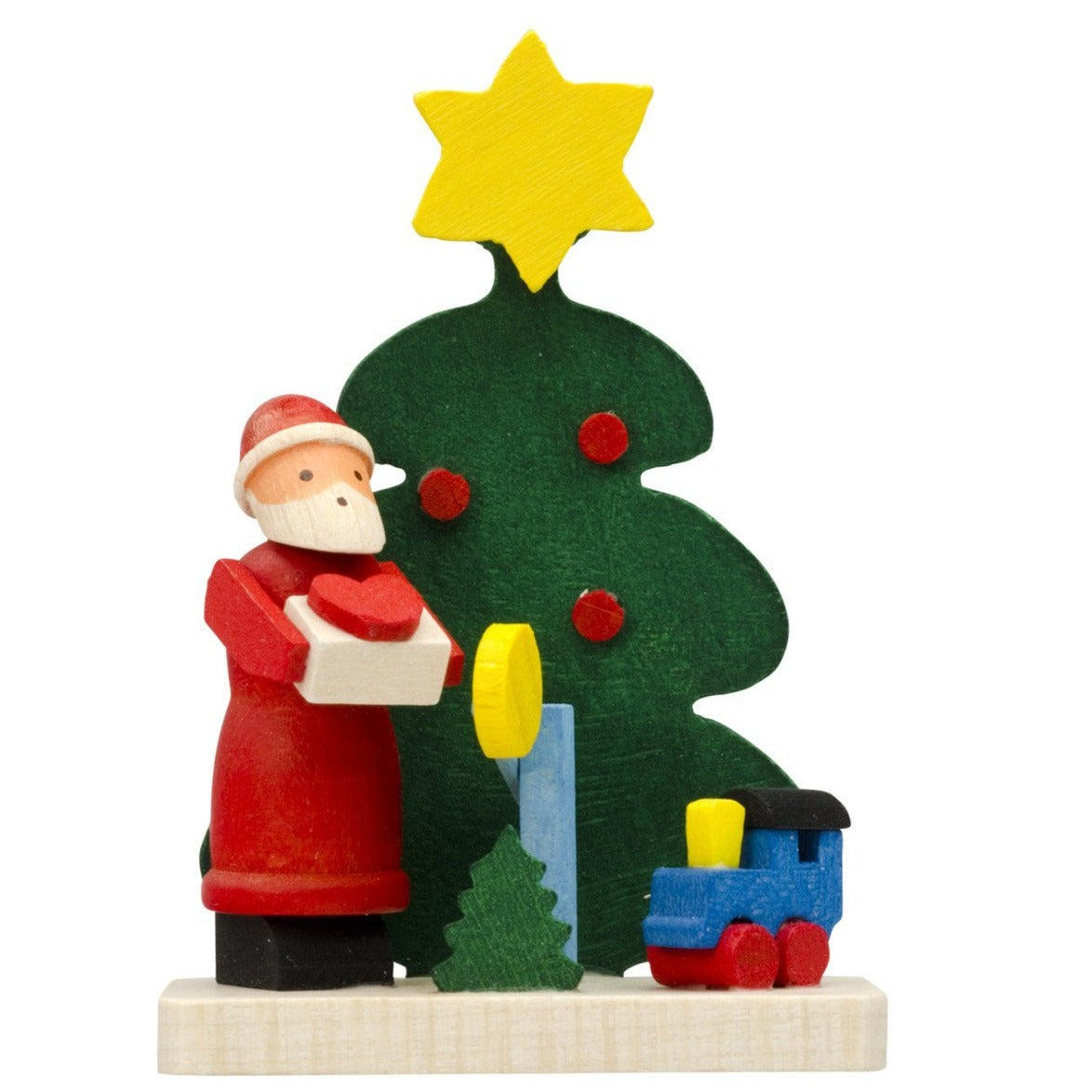 Under the tree with Santa - Train and Heart-Shaped Present - Christmas tree decoration