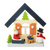 Christmas Village with Snowman Delivering Presents - Christmas tree decoration