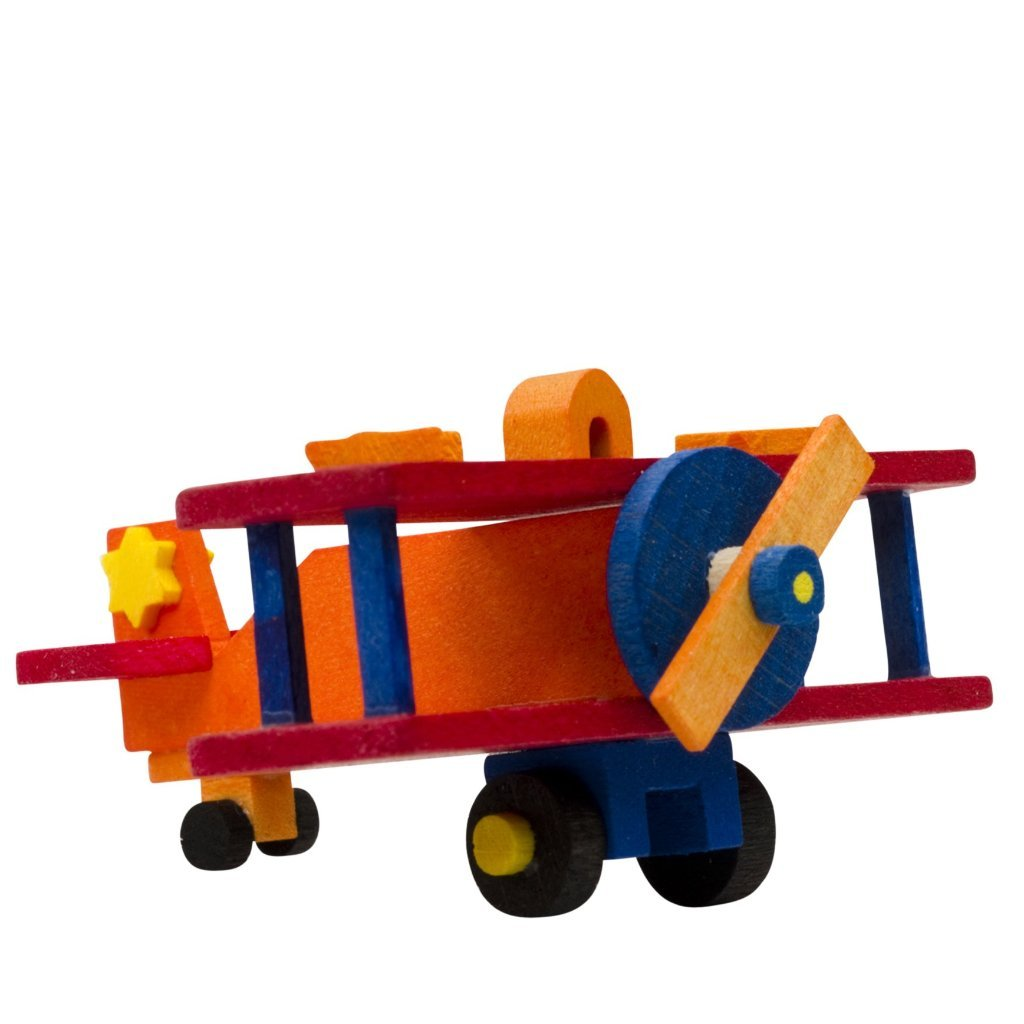 Mini Airplane (Orange with Red Wings) -  Christmas tree decoration