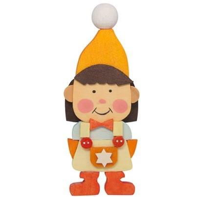 Gnome Children (Girl in Orange) - Christmas Tree Decoration