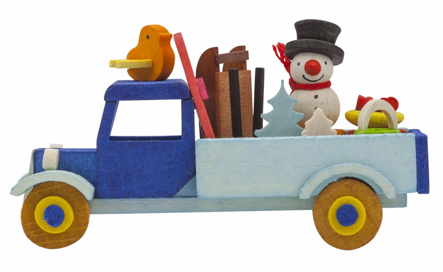 Adorable Christmas truck - Skiing Snowman