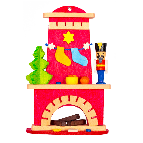 Fireplace with Nutcracker - Christmas tree decoration