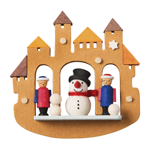 Fairytale Castle with Snowman - Christmas tree decoration