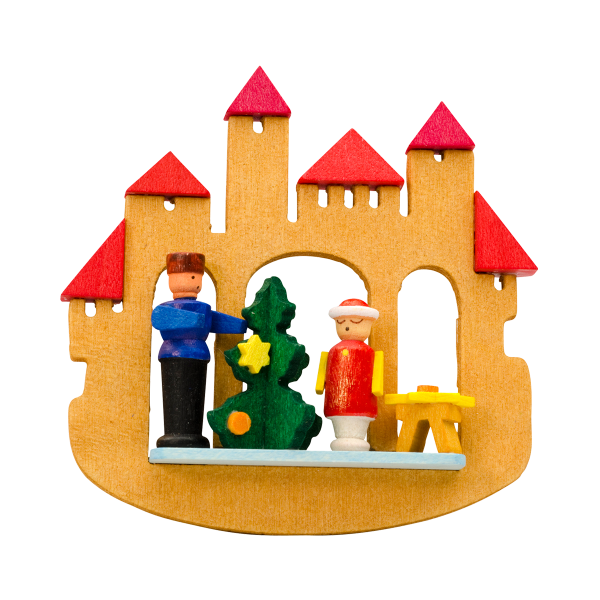 Fairytale Castle with family decorating tree- Christmas tree decoration