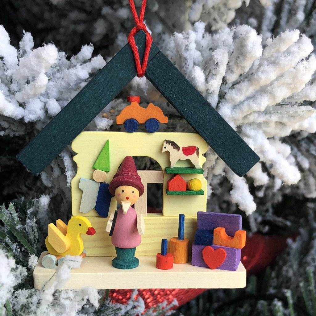Christmas Village with Elf in Santa's Workshop - Christmas tree decoration