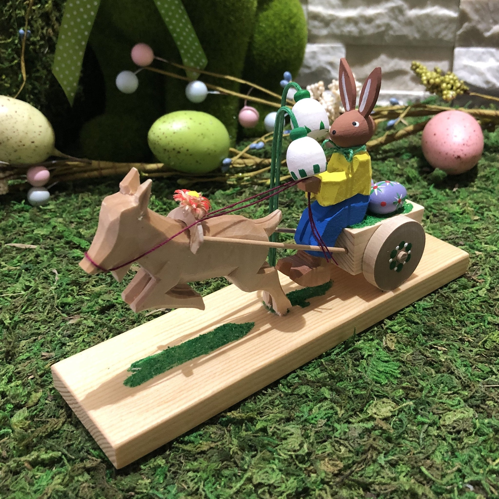 Easter Figurine- Easter bunny on cart