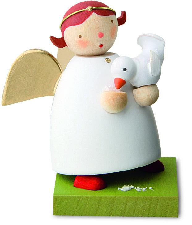 Little Angel Figurine - Guardian Angel Feeding a Little Dove