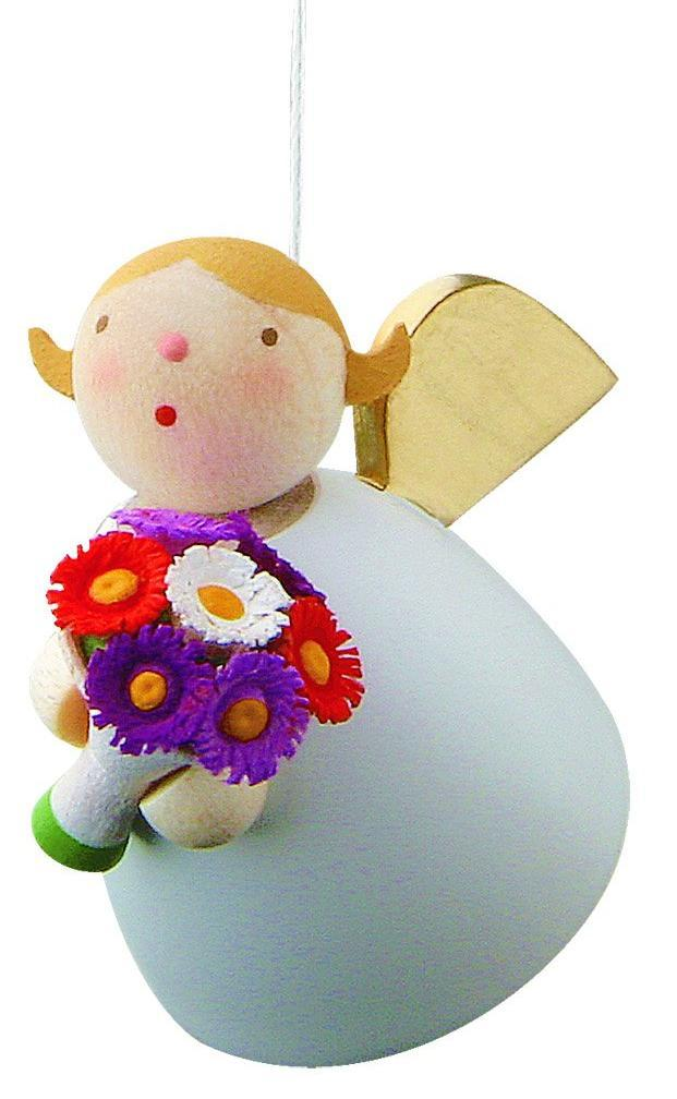 Little Angel Figurine - Guardian Angel with Bunch of Flowers (Hanging Ornament)