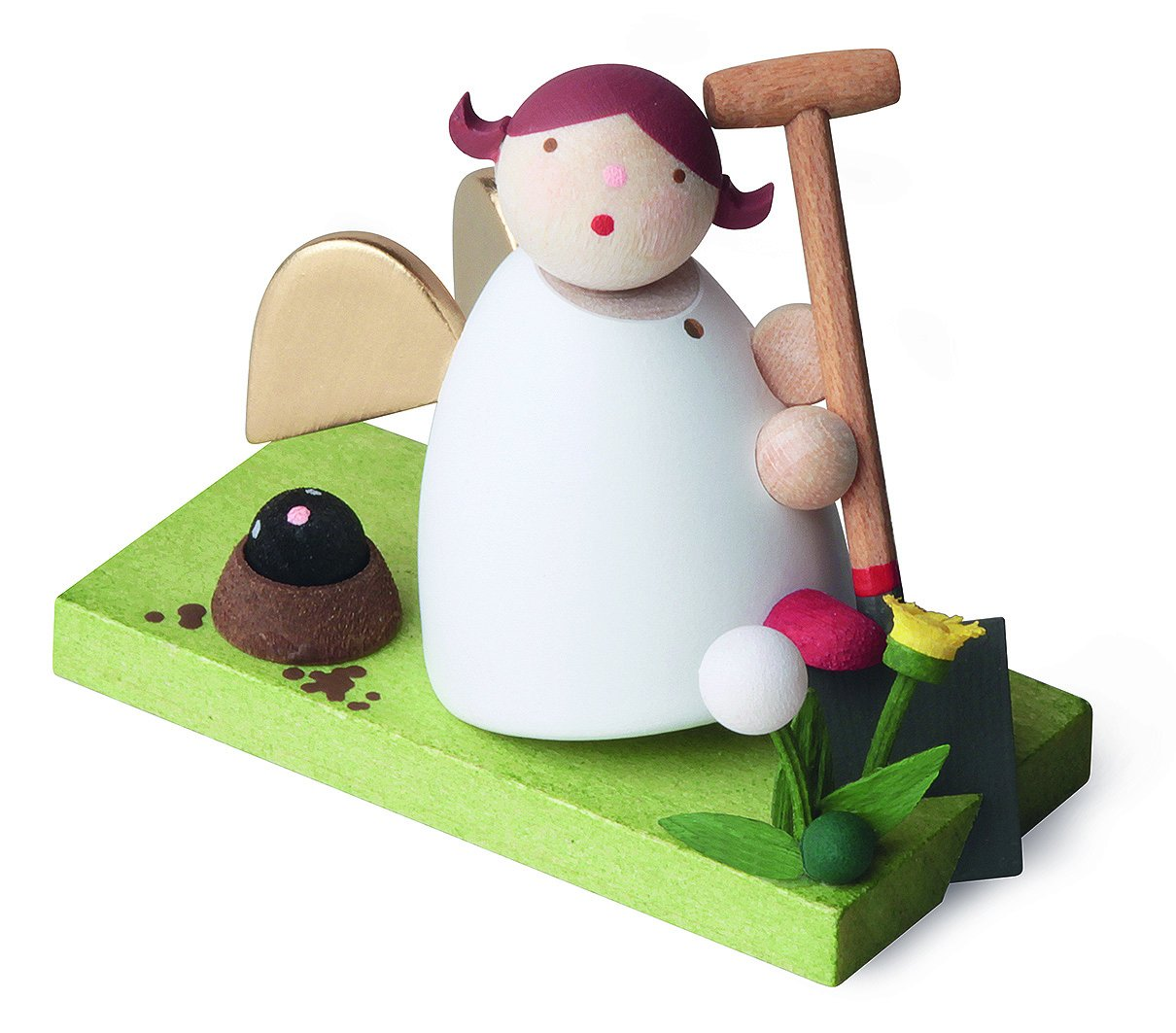Little Angel Figurine - Guardian Angel Gardening with Spade