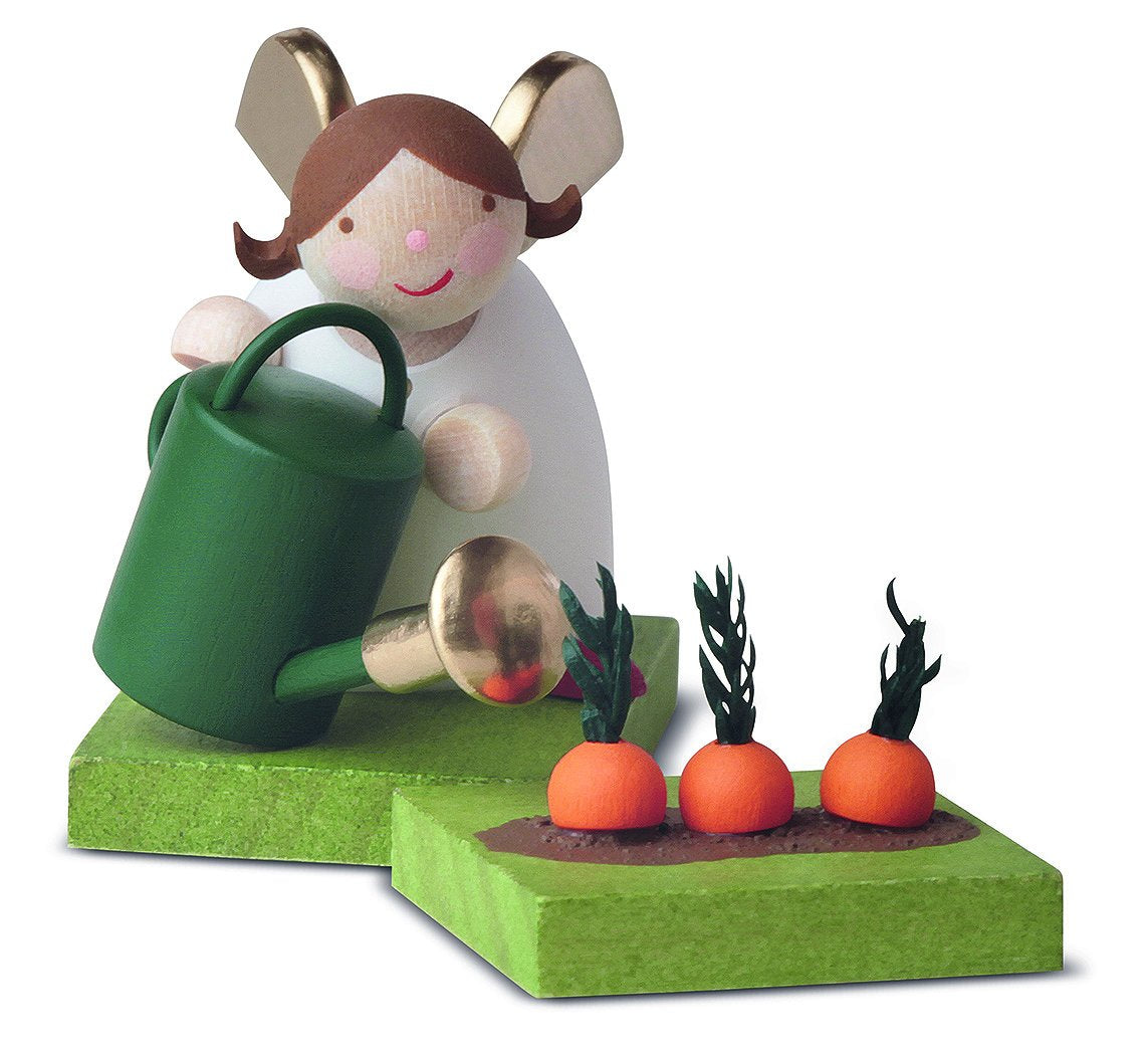 Little Angel Figurine - Guardian Angel Gardening with Watering Can