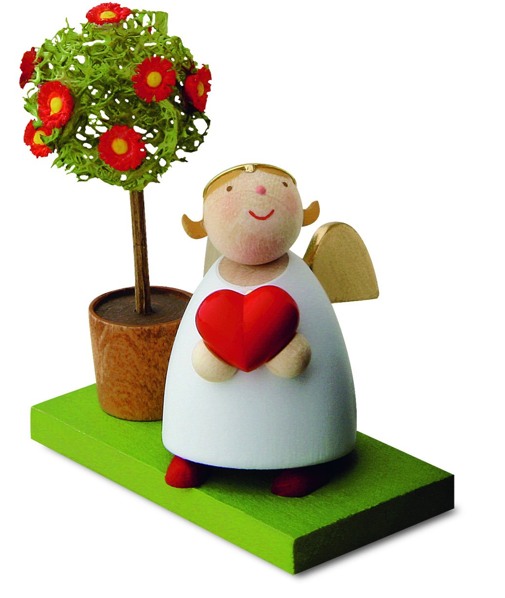 Little Angel Figurine - Guardian Angel with Love Heart and Little Tree