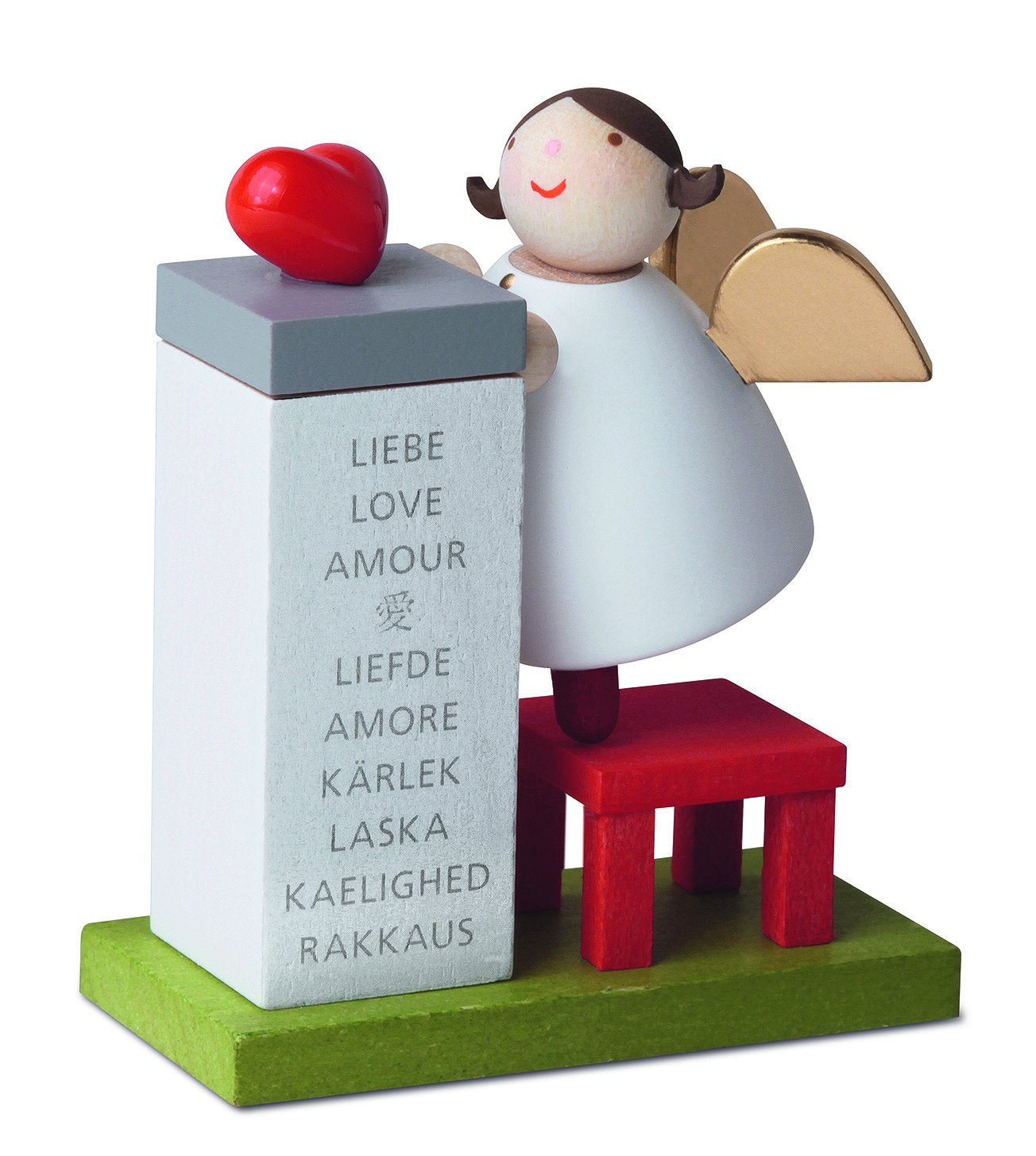 Little Angel Figurine - Guardian Angel with Love Heart on Podium