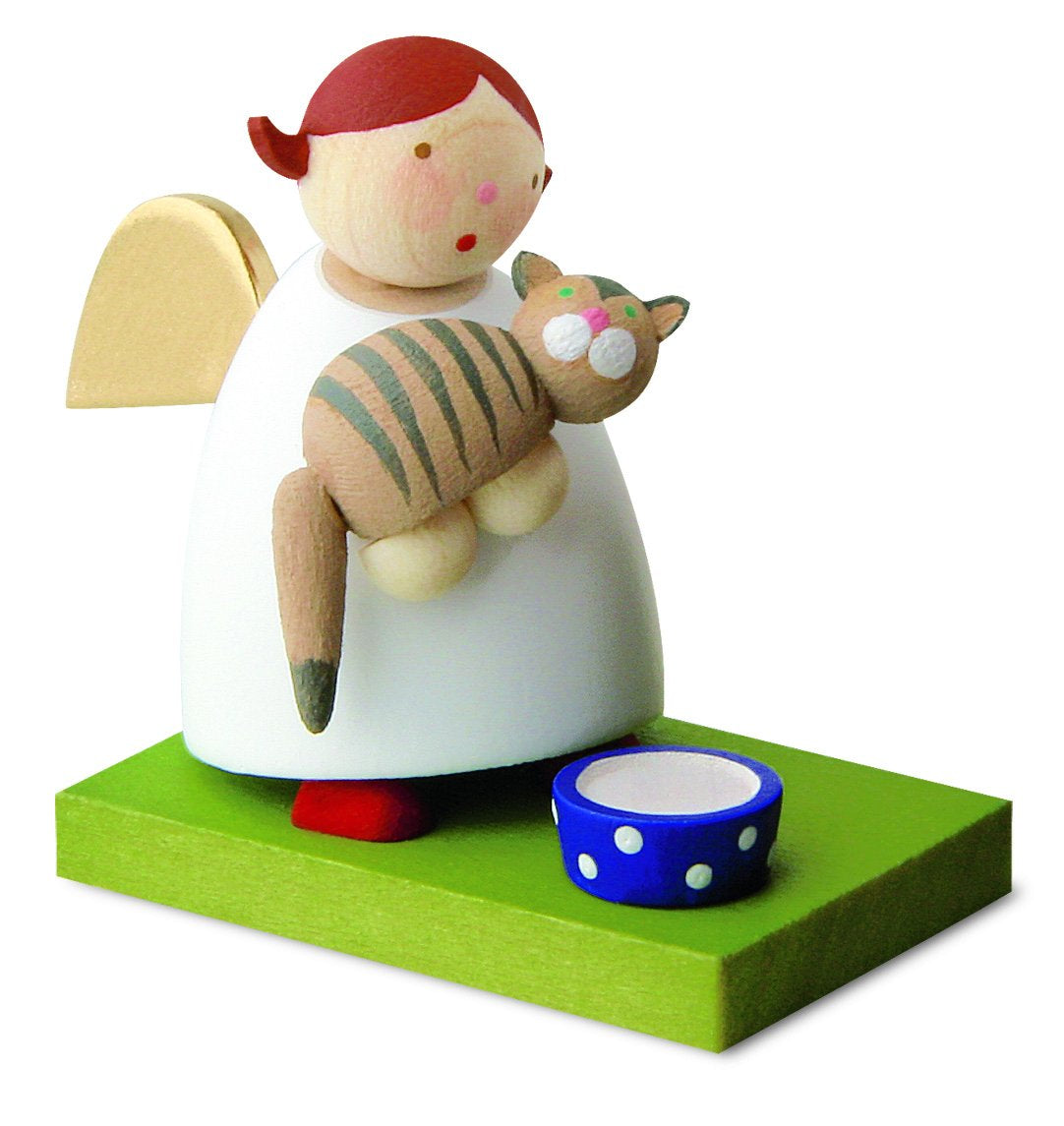 Little Angel Figurine - Guardian Angel with Pet Kitten