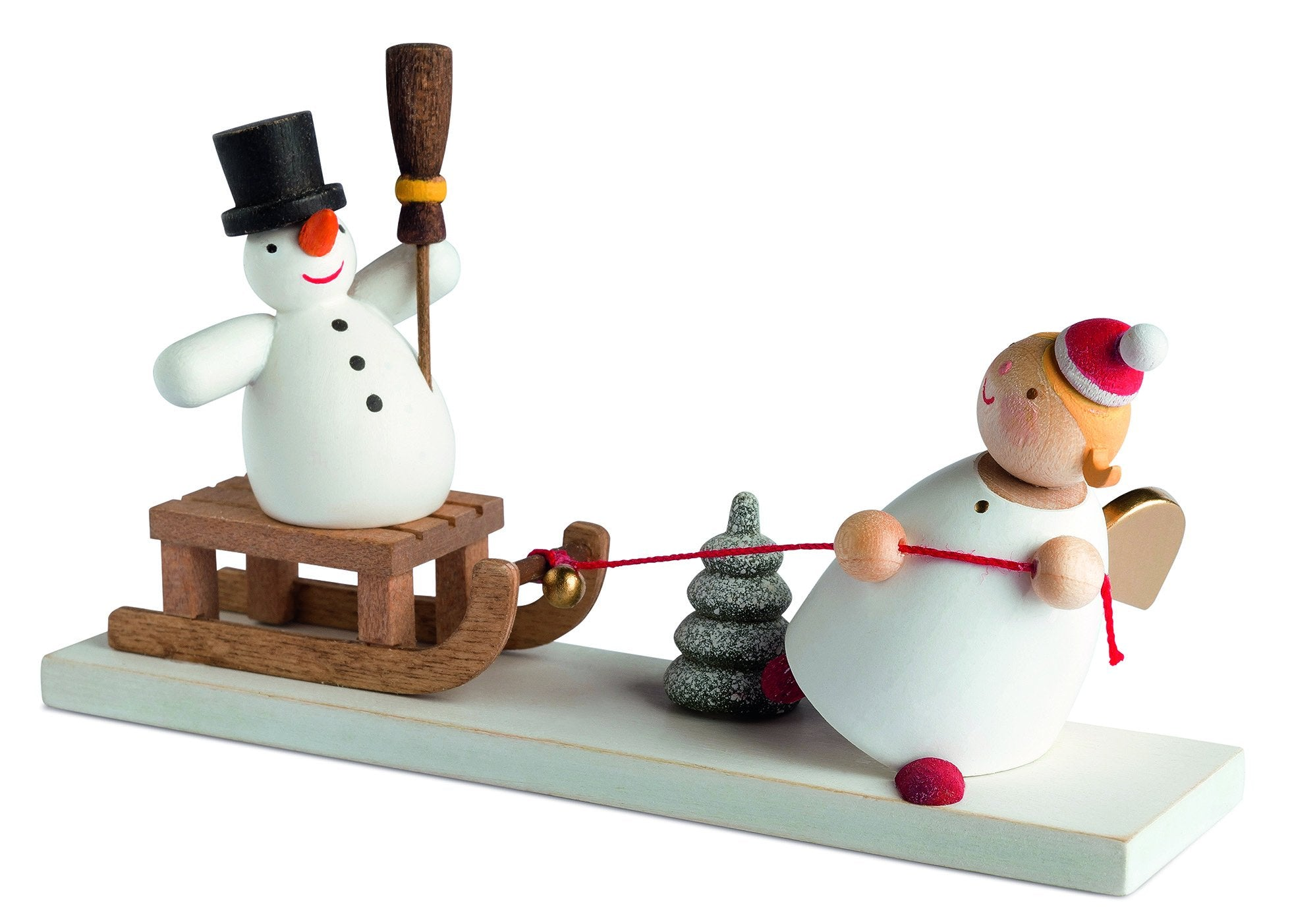 Little Angel - Christmas Angel and Snowman on Sleigh