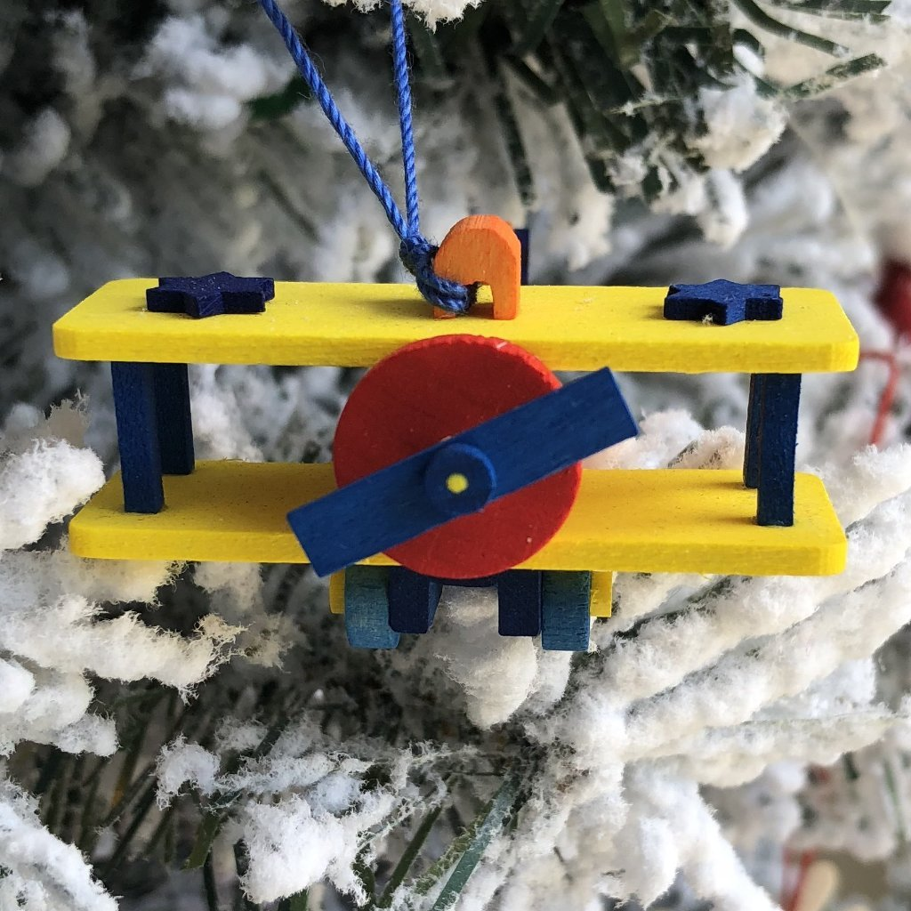 Mini Airplane (Orange with Yellow Wings) -  Christmas tree decoration