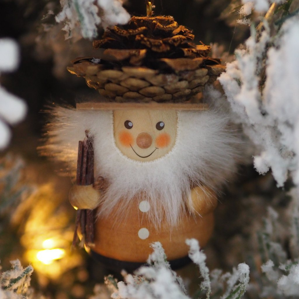 Little gnome Christmas tree decoration - Fir-cone man