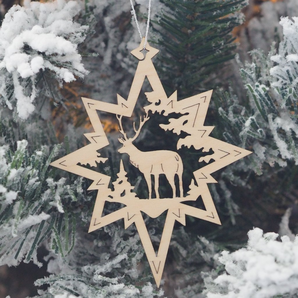 Elke's Cut-Outs (Assorted Stars - Christmas Forest) - Set of 6 Christmas tree decorations