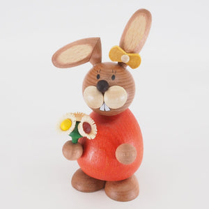 Osterhase Collectible - Bunny Girl with Bunch of Flowers