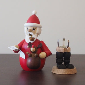 Incense Burner - Santa with Baby Rudolph and Christmas List