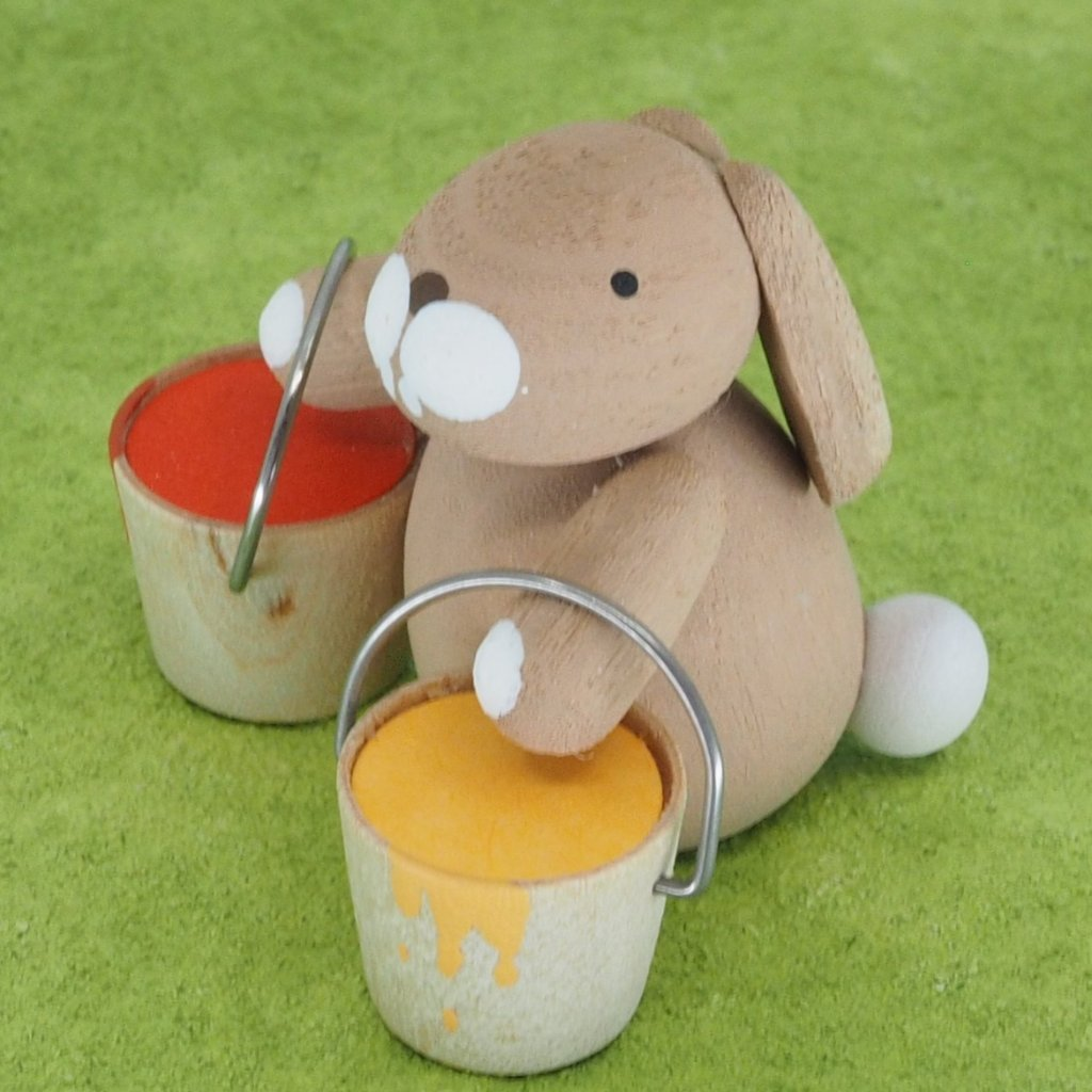 Premium Easter Bunny - Easter Bunny with egg paint buckets