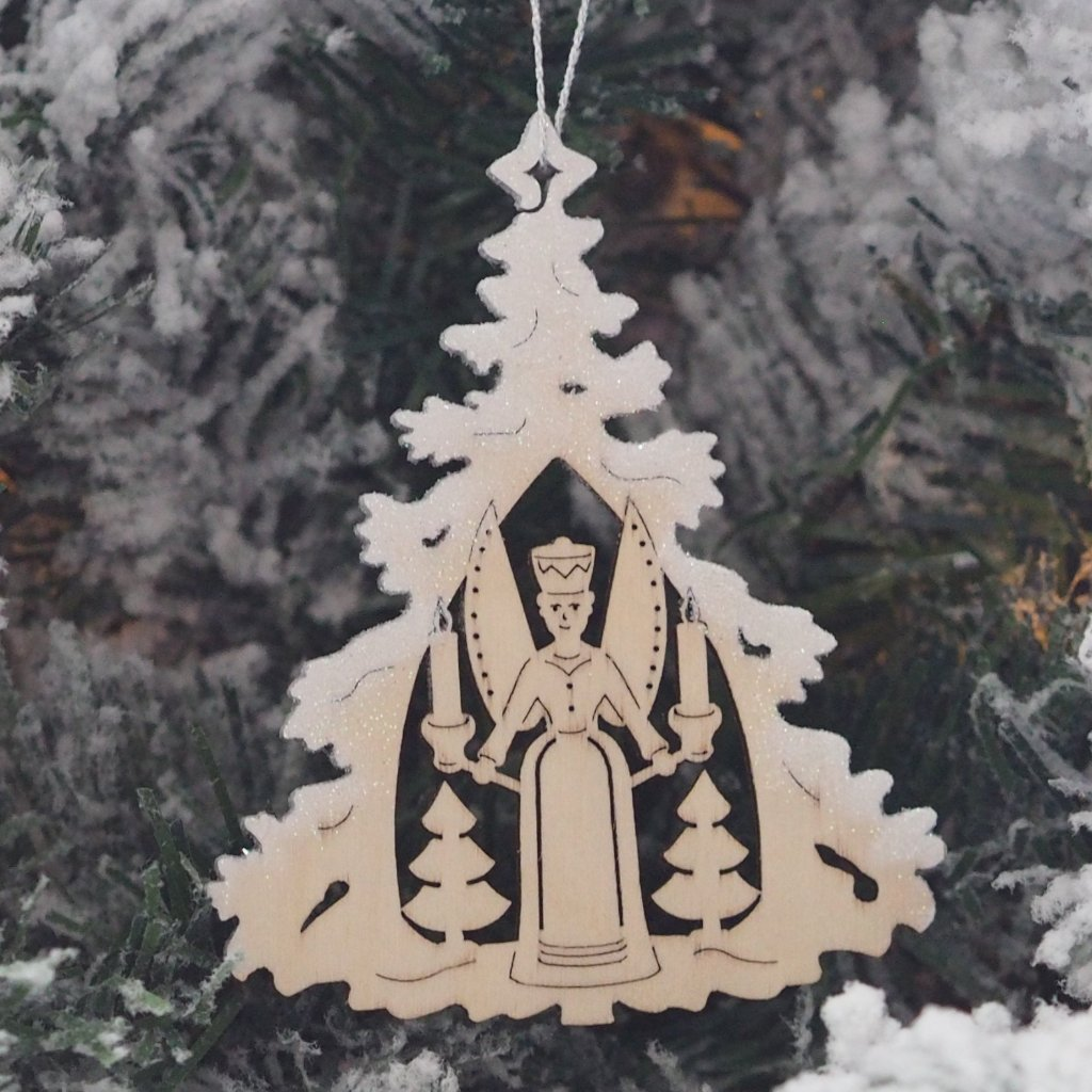 Elke's Silver-Frosted Tree - Traditions (Angel & Miner Pair) - Christmas tree decorations