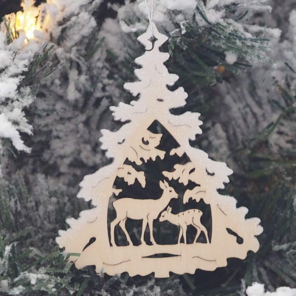 Elke's Silver-Frosted Tree (Deer and Faun) - Christmas tree decoration