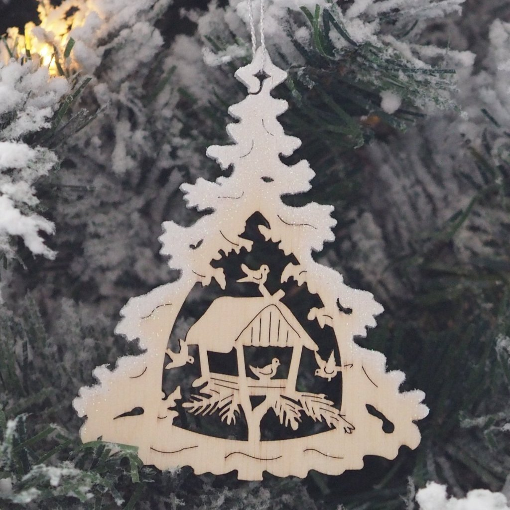Elke's Silver-Frosted Tree (Forest Birdhouse) - Christmas tree decoration