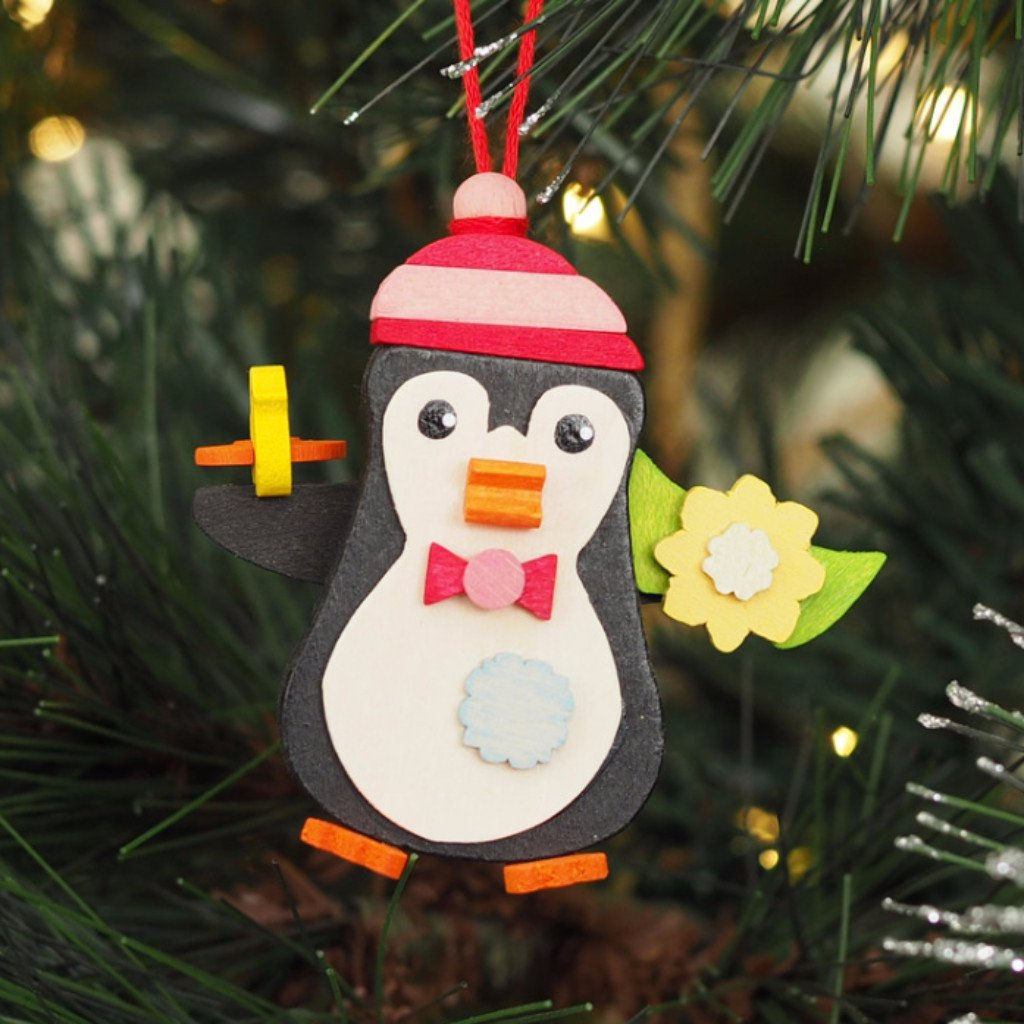 Penguin with flower and bird - Christmas tree decoration