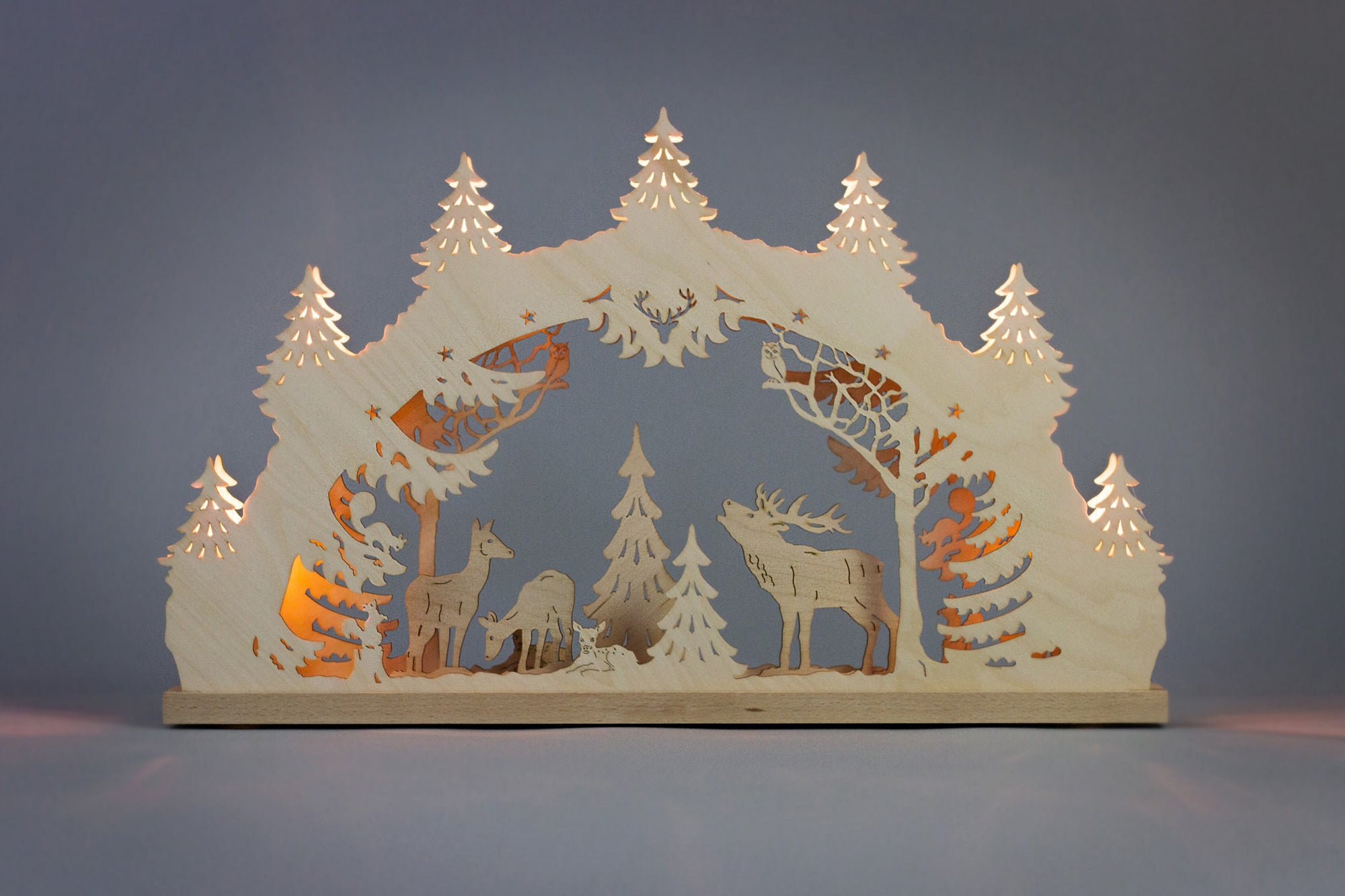 Lighted Arch (Schwibbogan) - Classic - Forest Stag