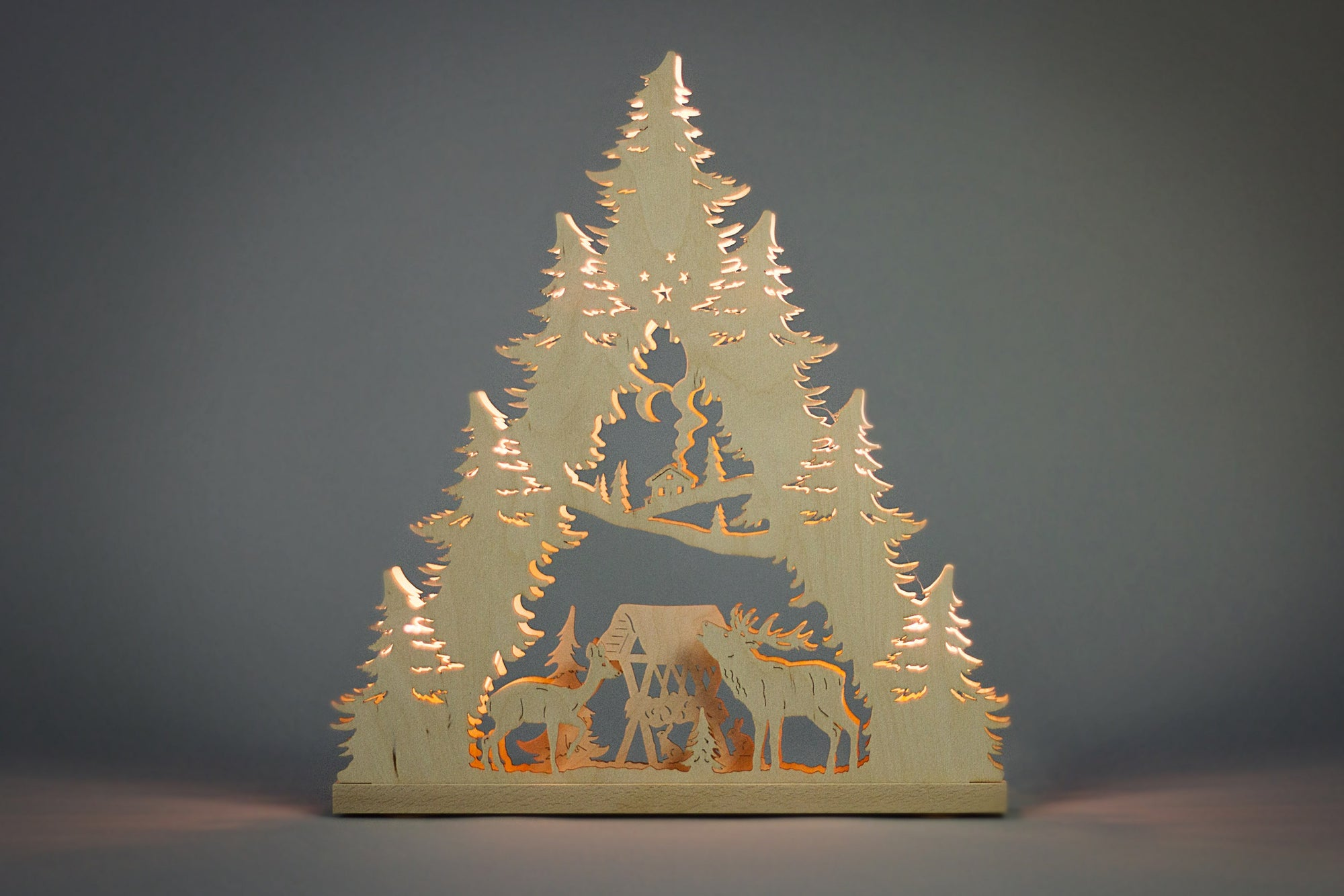 Lighted Arch (Schwibbogan) - Classic - Deer Family