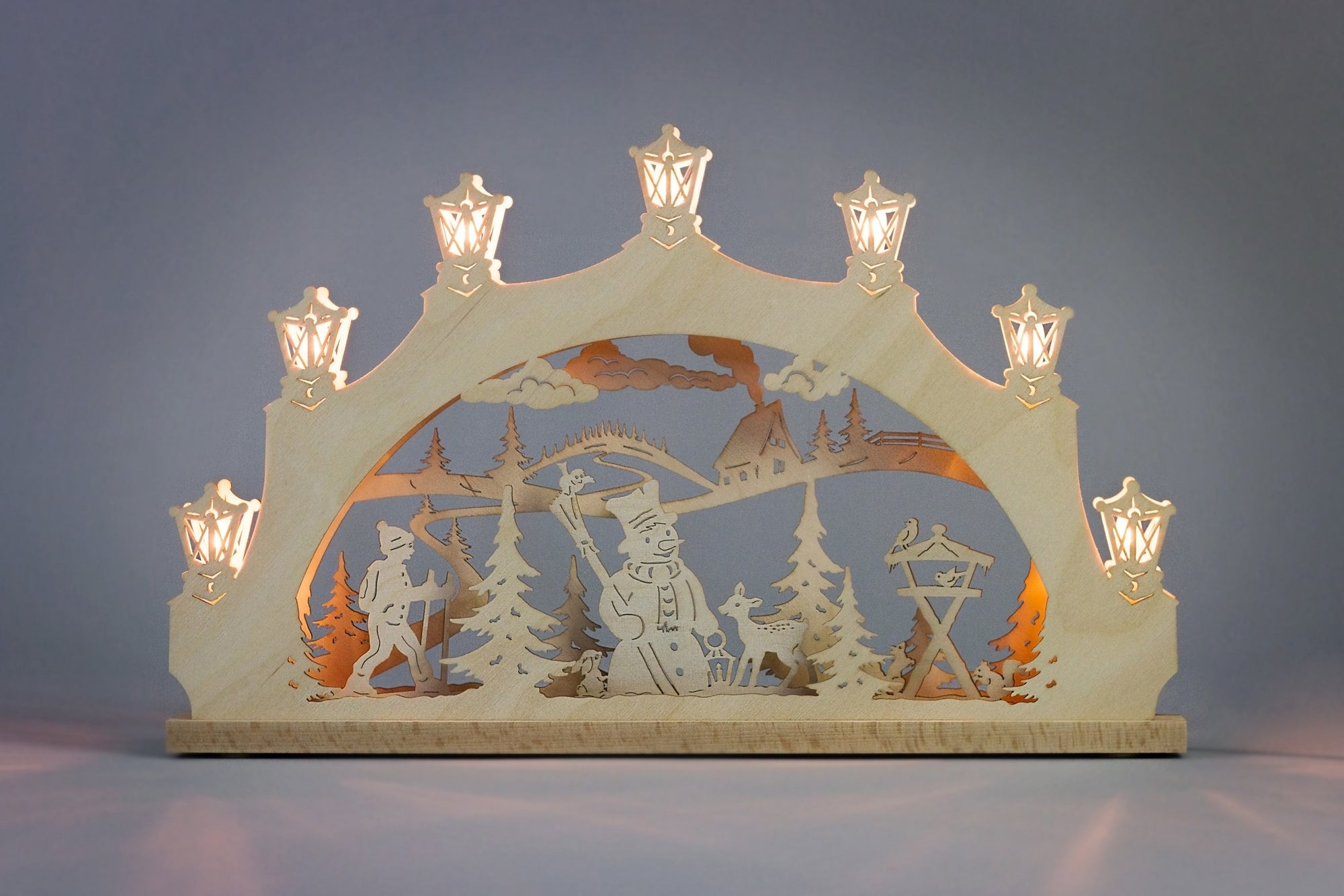 Lighted Arch (Schwibbogan) - Classic - Snowman