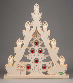 Lighted Arch (Schwibbogan) - Classic - Christmas Tree with Red Baubles