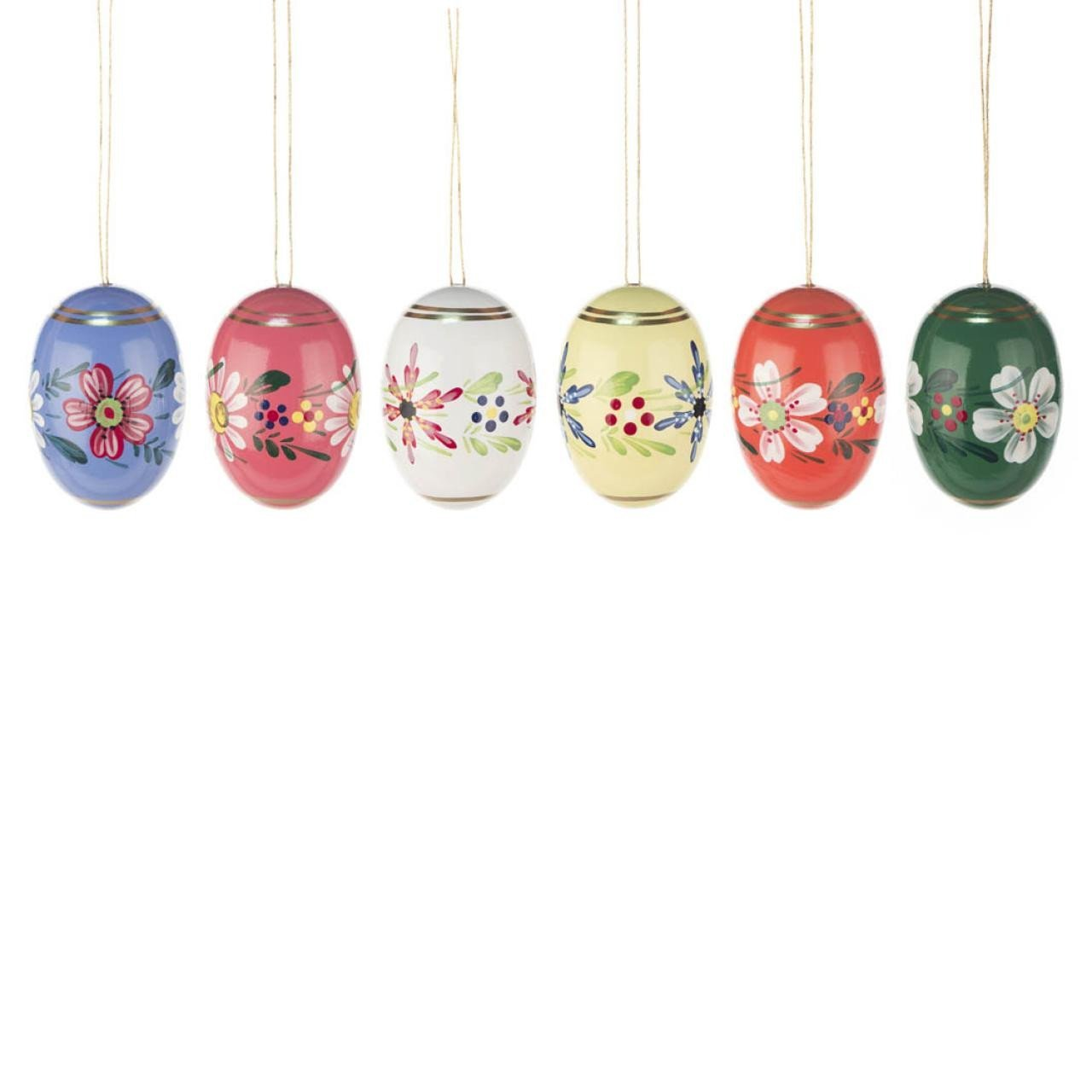 Hanging Easter Eggs - varnished hand painted flowers (Large)