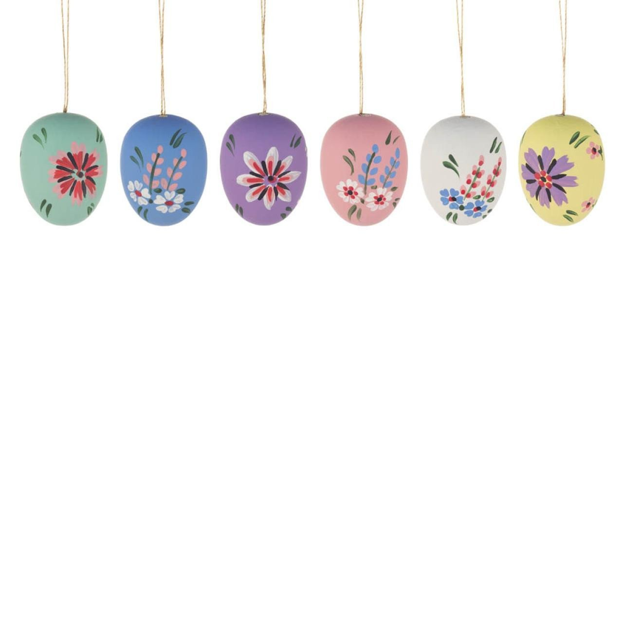 Easter Tree Decoration- Silk Eggs (Set of 6)